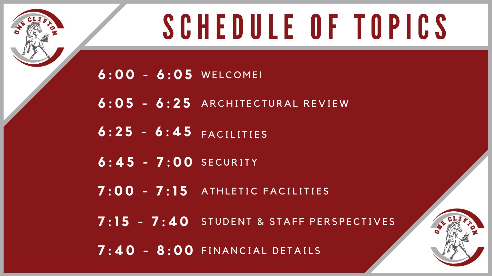 Clifton Virtual Forum Schedule
